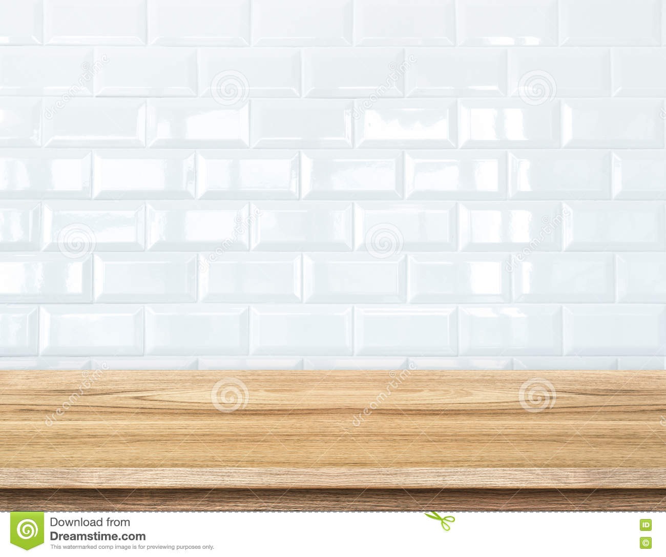 Empty Wood Table And White Ceramic Tile Brick Wall In