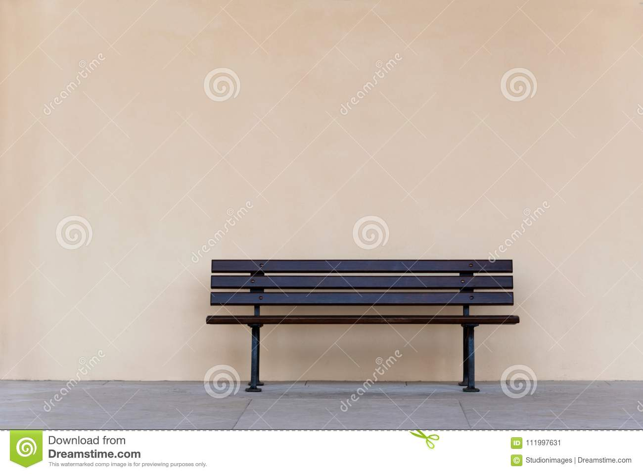 Remarkable Empty Wooden Bench Chair Against Blank Wall Stock Image Onthecornerstone Fun Painted Chair Ideas Images Onthecornerstoneorg