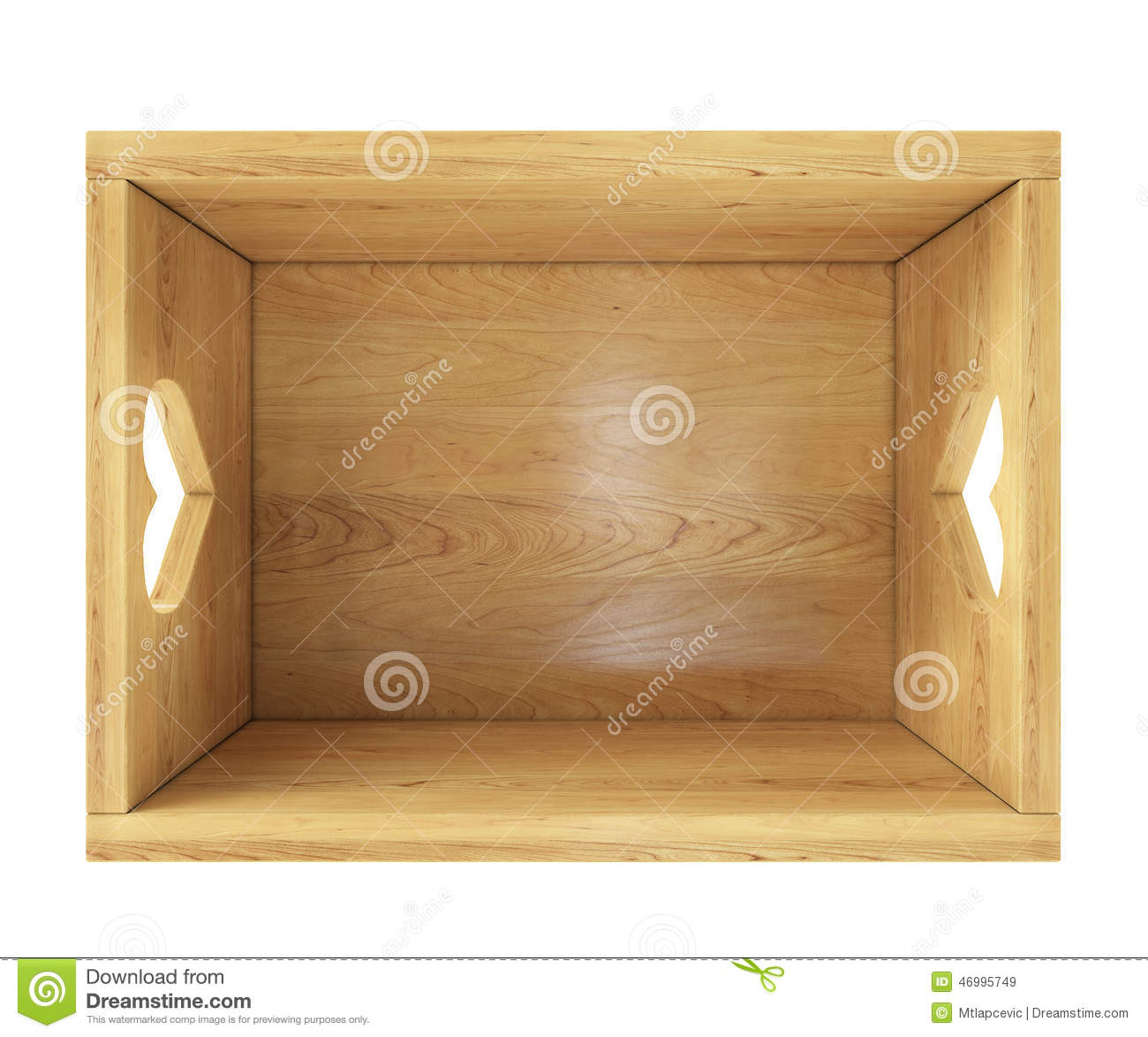 Empty Wooden Box Isolated On White With Heart Holders In Top View Stock Illustration - Image ...