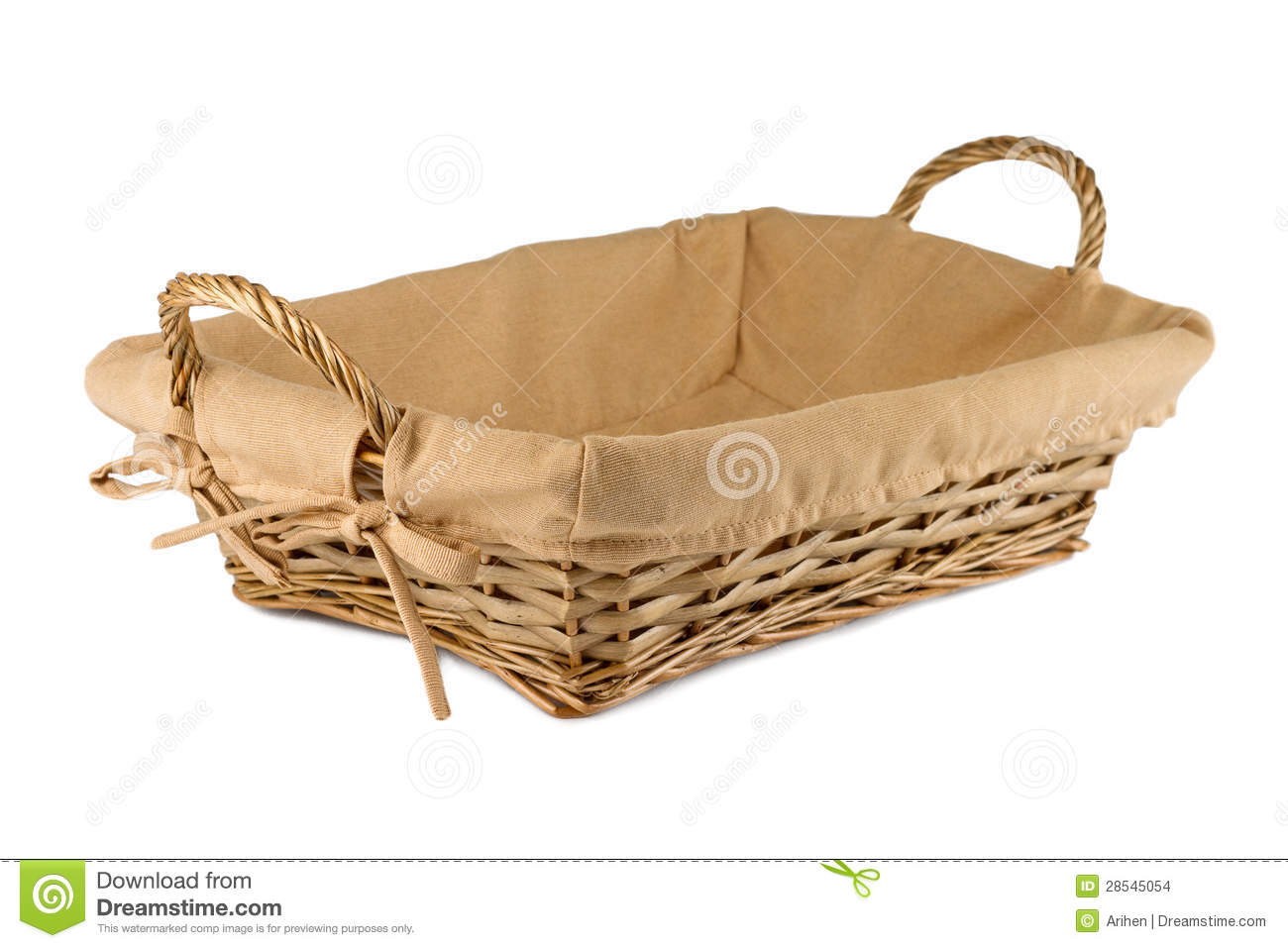 Empty Wooden Bread Basket On White Background Stock Images - Image ...