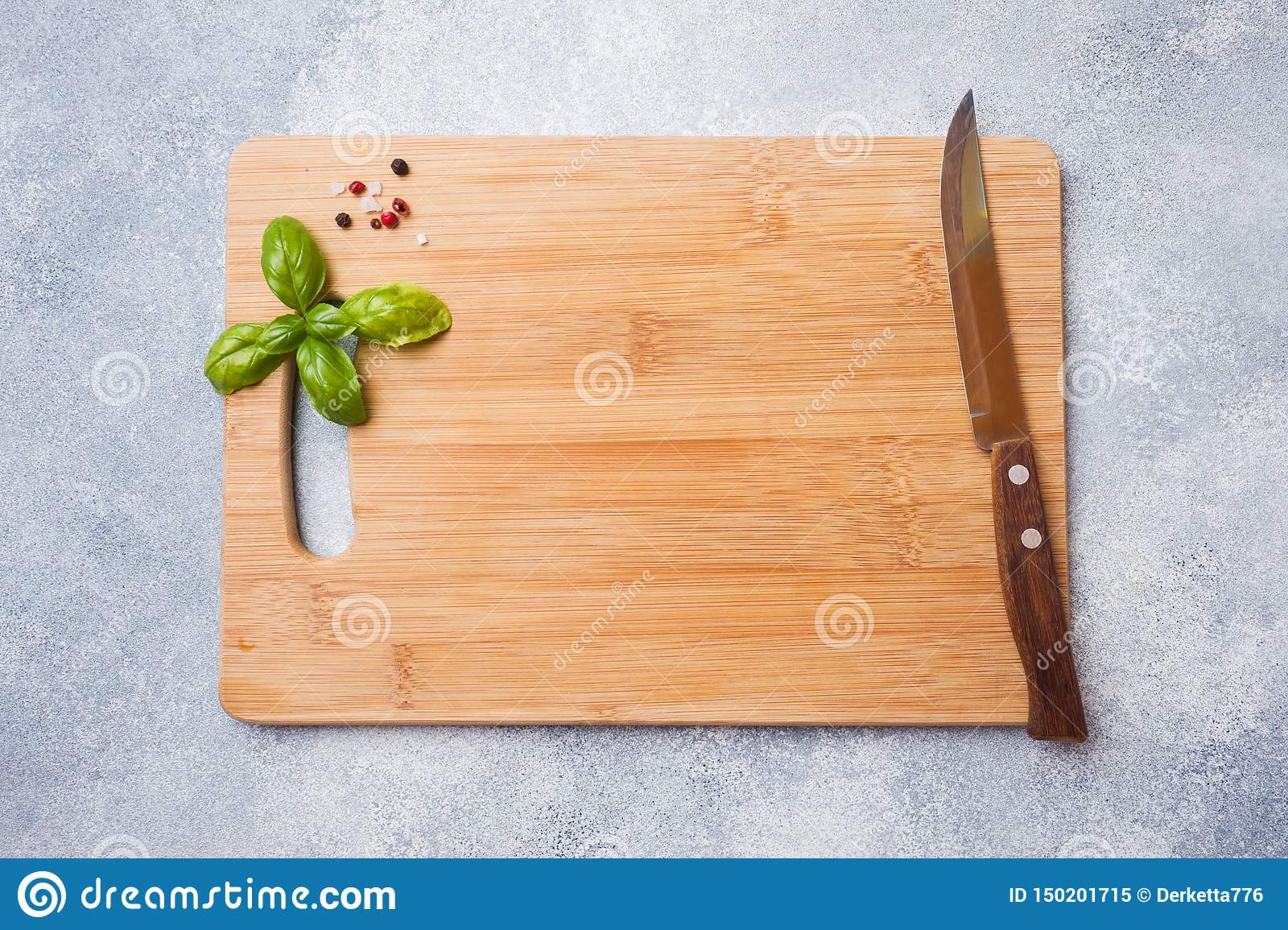 Empty Wooden Cutting Board On Kitchen Table. Top View Copy Space ...