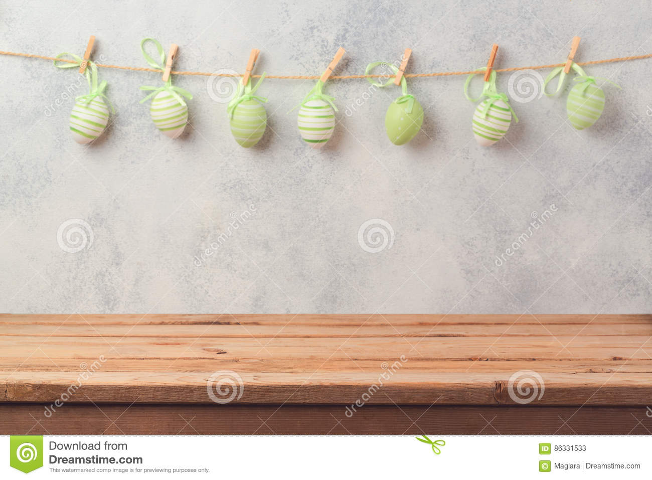 Empty Wooden Deck Table Over Rustic Wall Background With