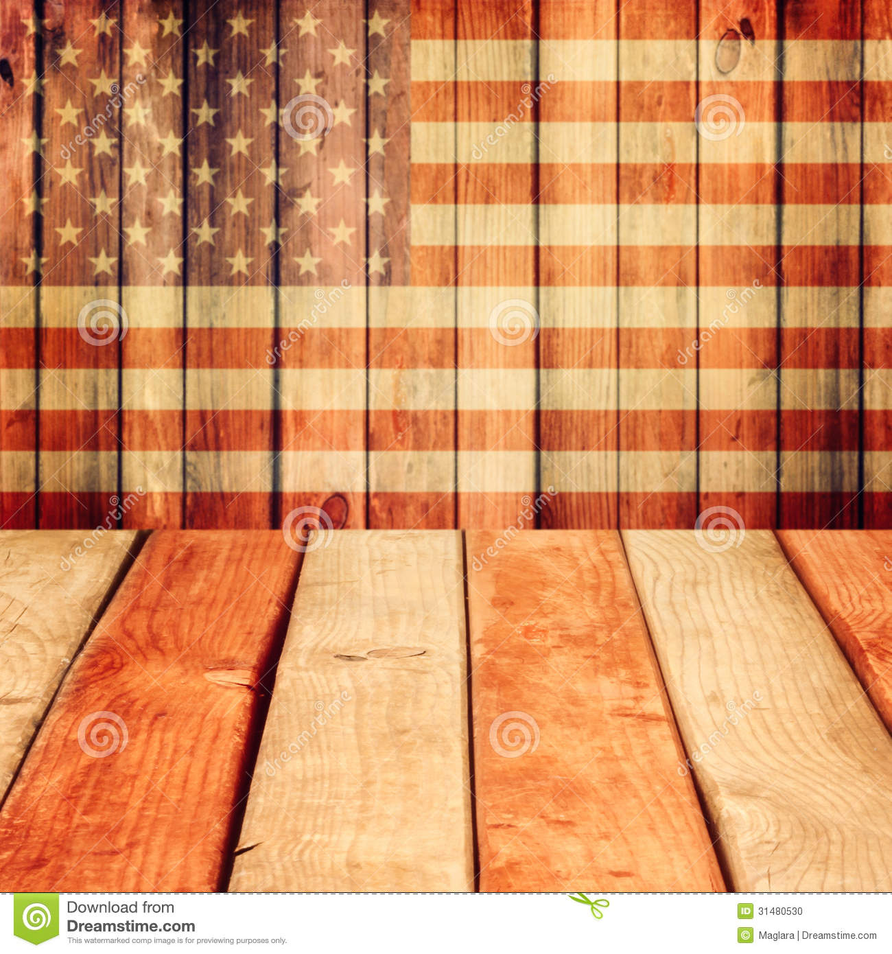Empty Wooden Deck Table Over Usa Flag Background Independence Day
