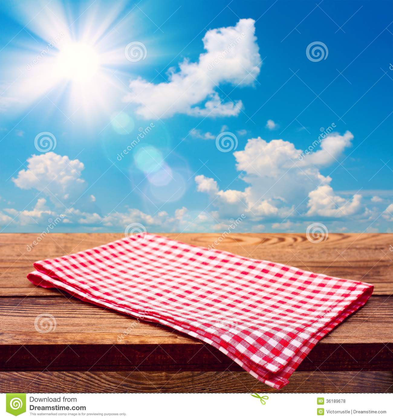 Empty Wooden Deck Table With Tablecloth Royalty Free Stock ...