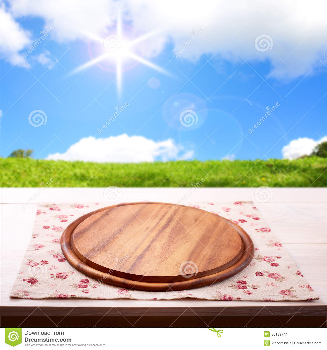 Empty Wooden Deck Table With Tablecloth Stock Image