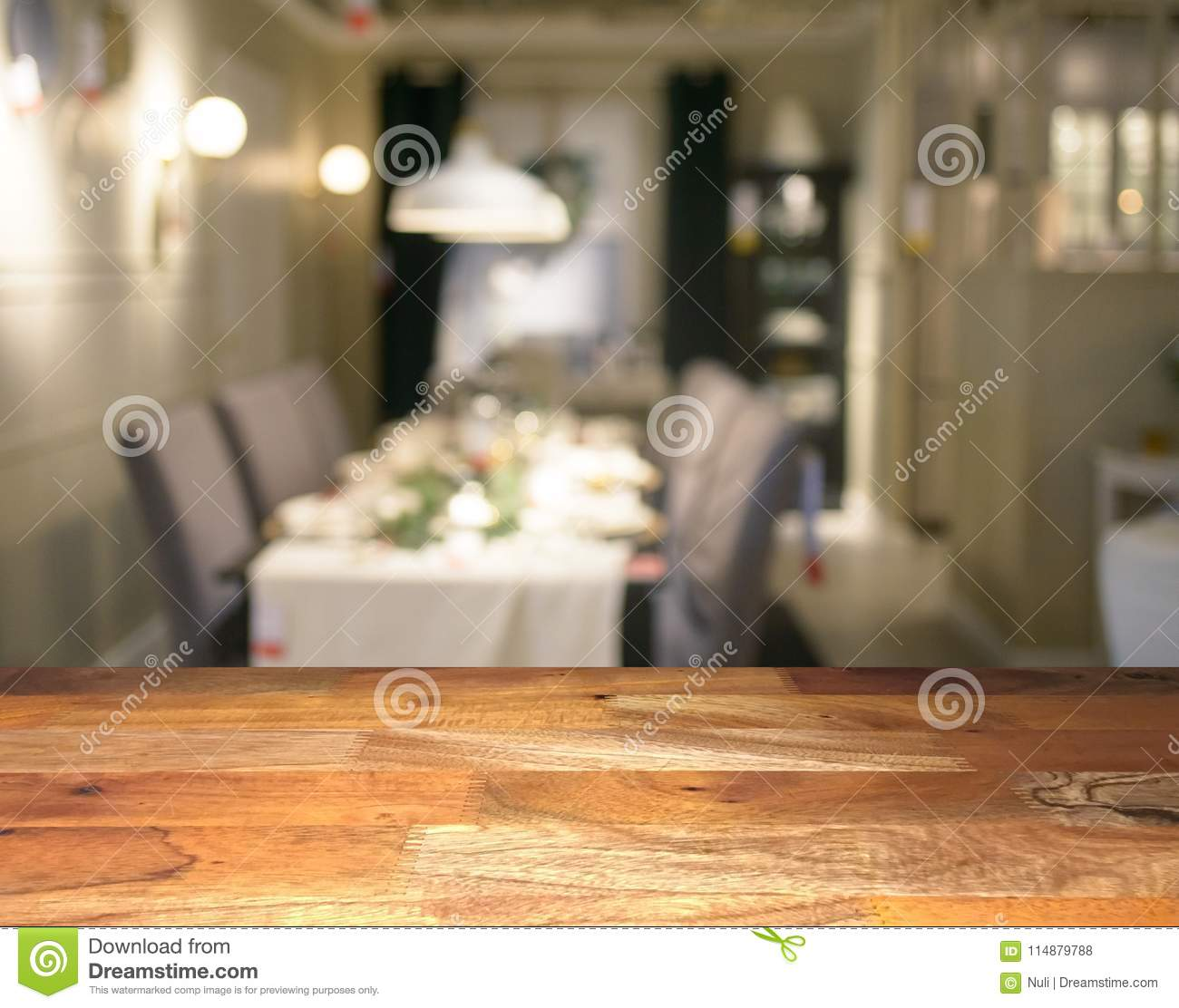 Stupendous Empty Wooden Display Table Top Front With Blurred Dining Download Free Architecture Designs Scobabritishbridgeorg