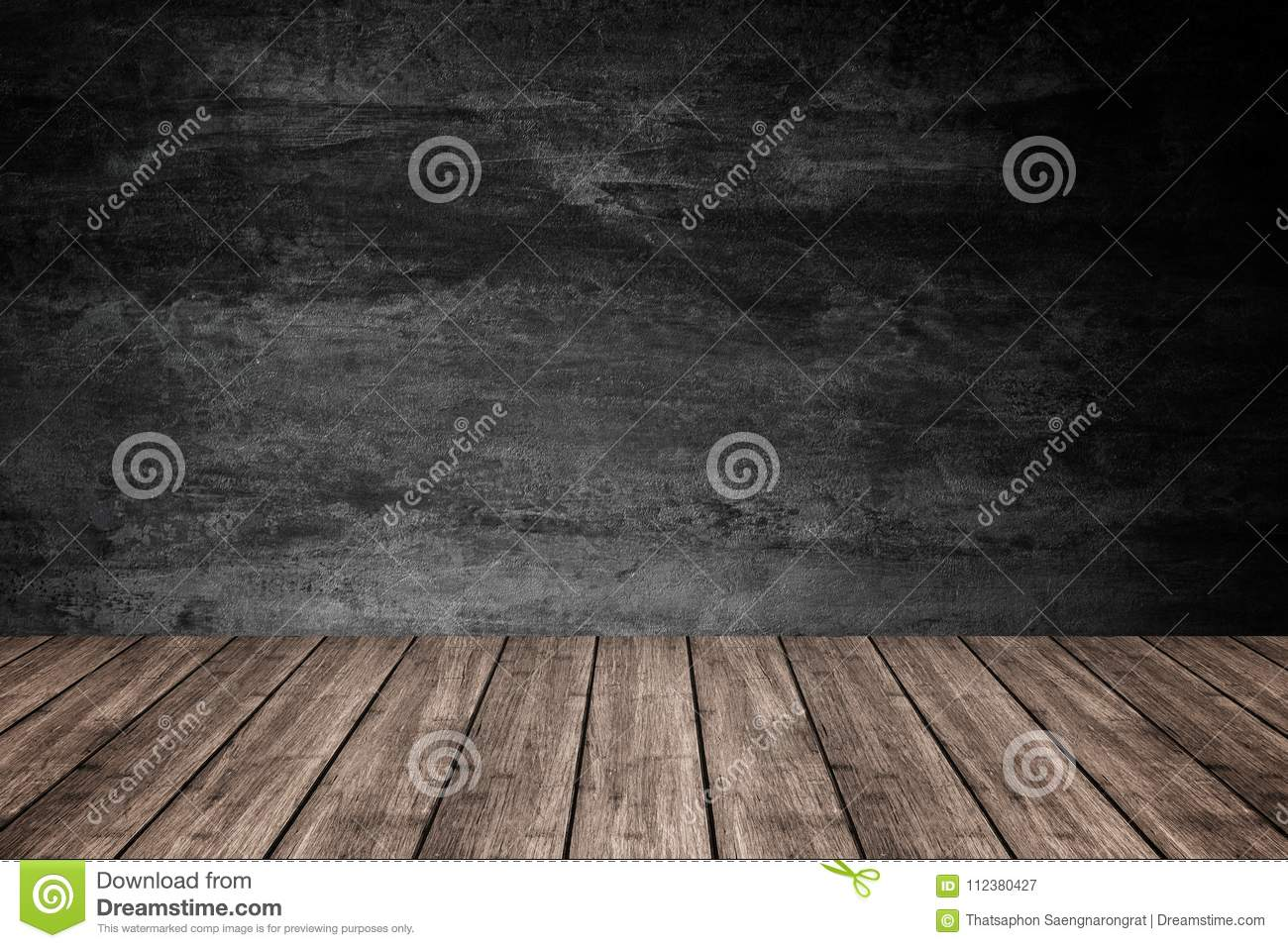 Empty Wooden Floor With Dark Concrete Wall Background, For