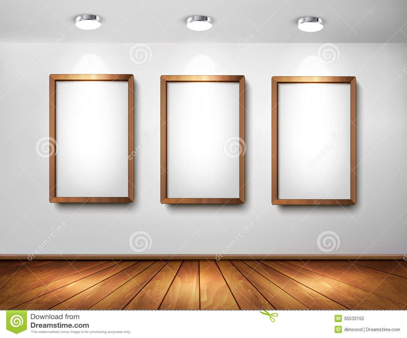 Wall Picture Frames empty wooden frames on wall with spotlights and wo royalty free