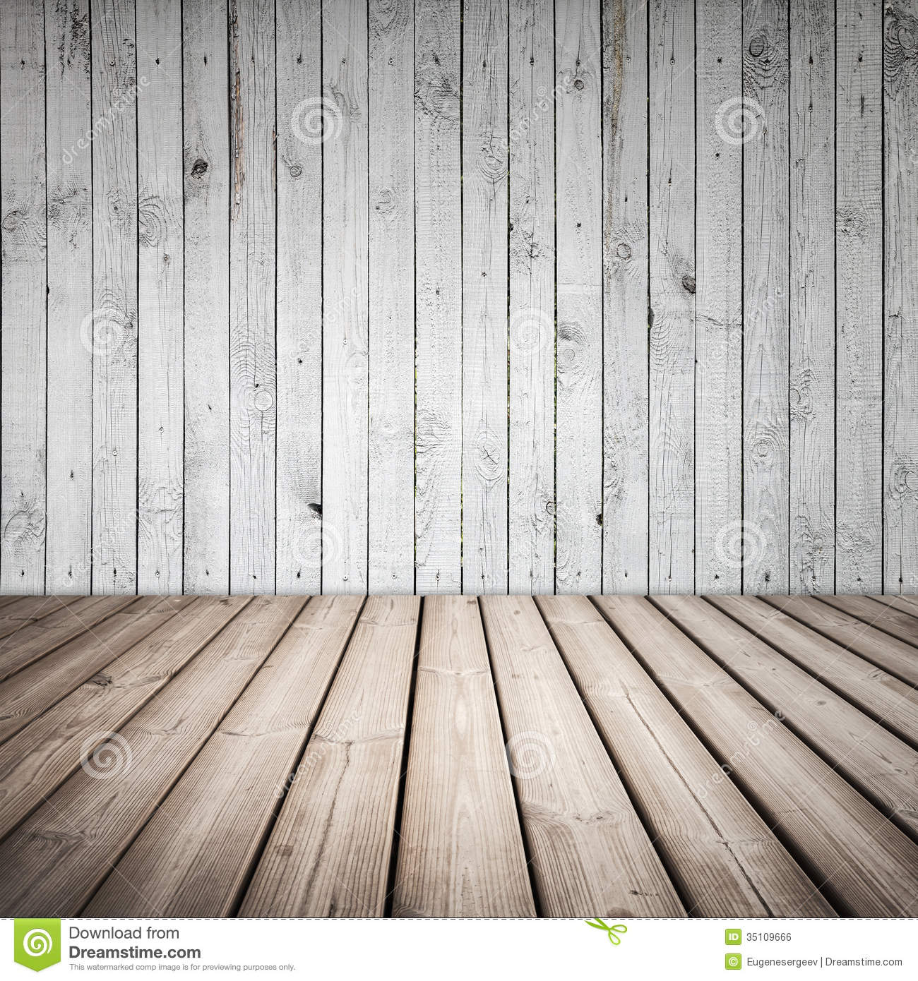 Interior White Floors: Empty Wooden Interior With White Wall Stock Photo