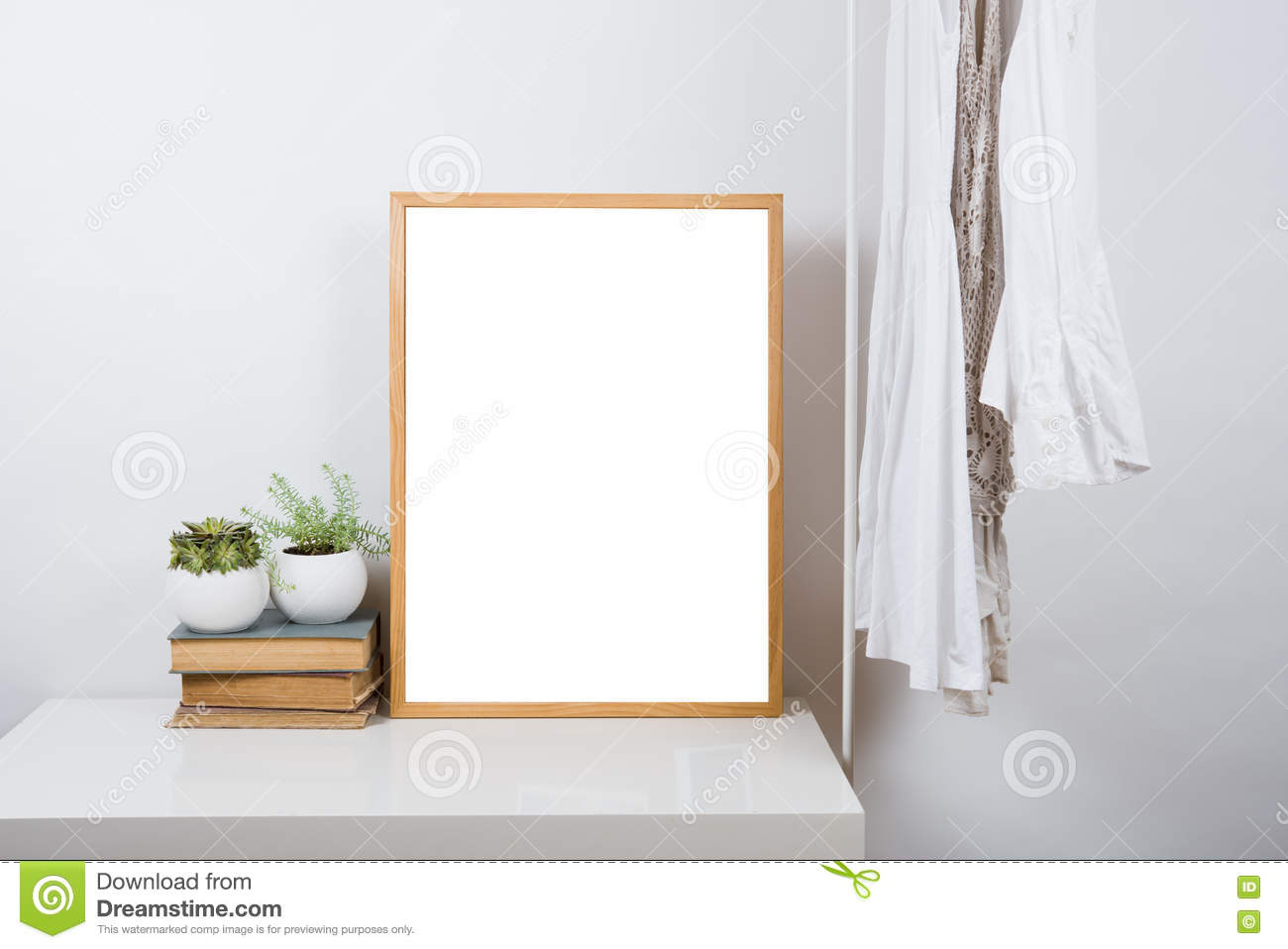 Empty wooden picture frame on the table art print mock up - Interiors by design picture frames ...