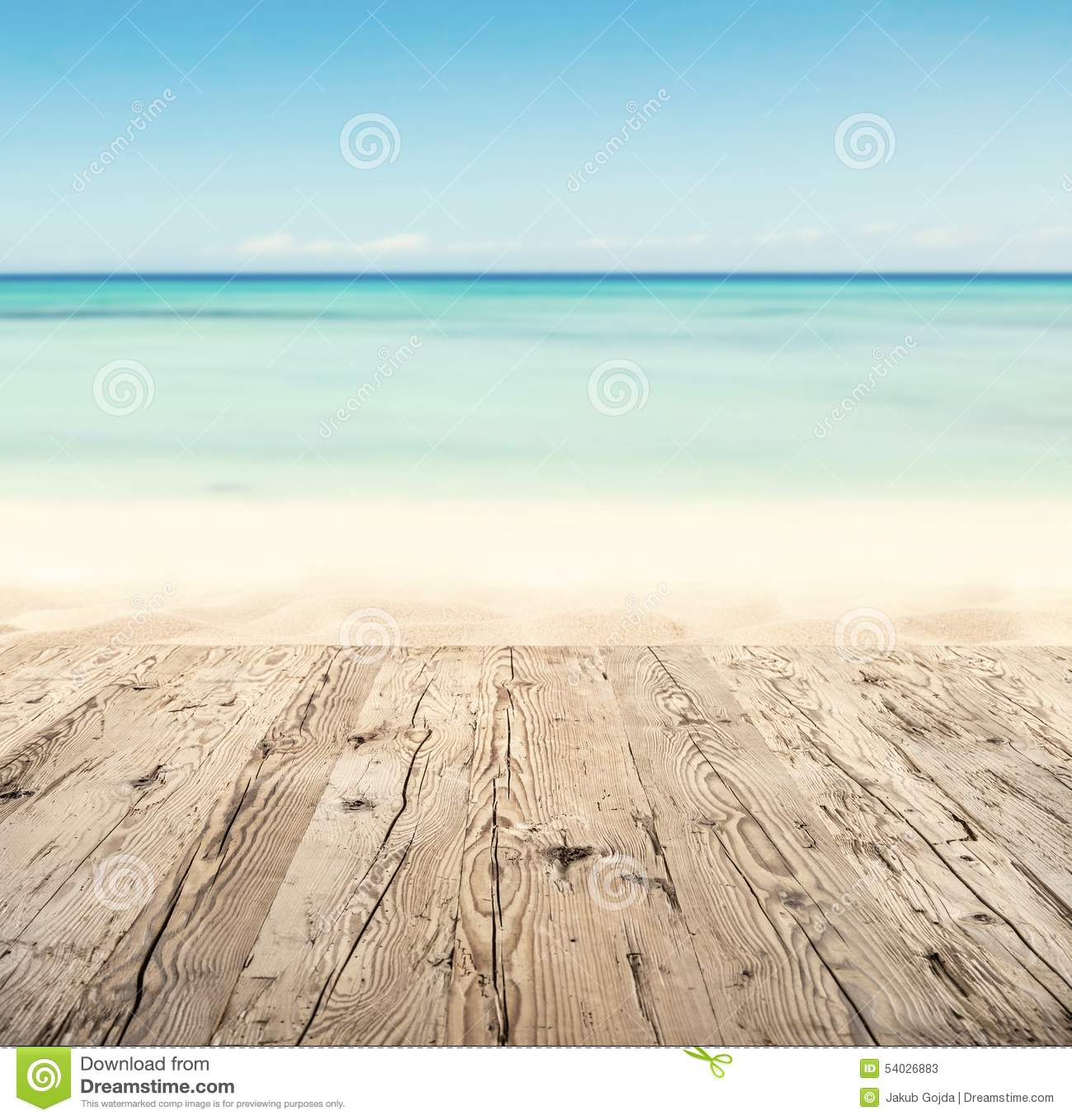 Sandy Beach: Empty Wooden Pier With View On Sandy Beach Stock Image