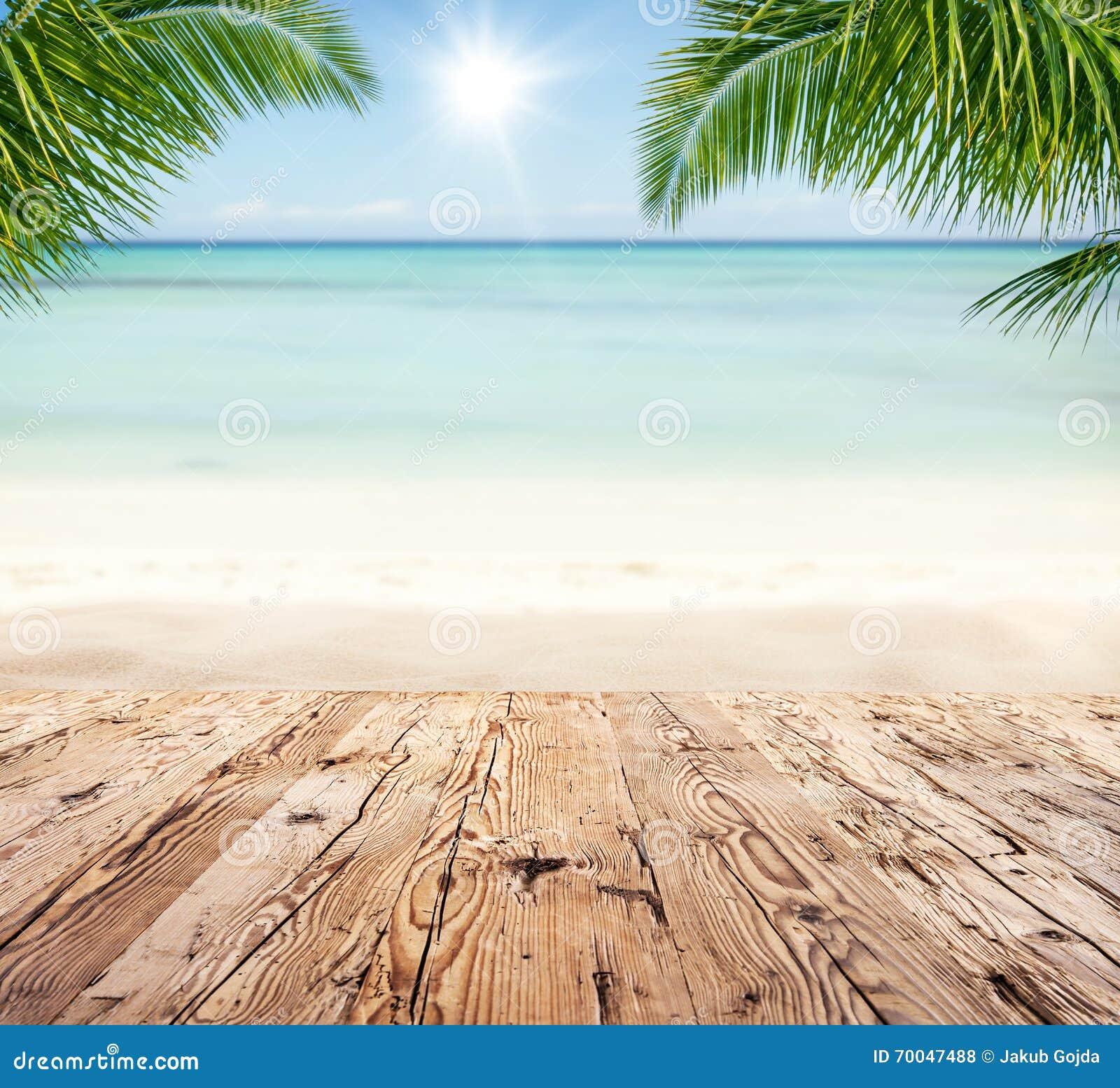 Vintage Beach Background Stock Photo 112981333: Empty Wooden Planks With Blur Beach On Background Stock