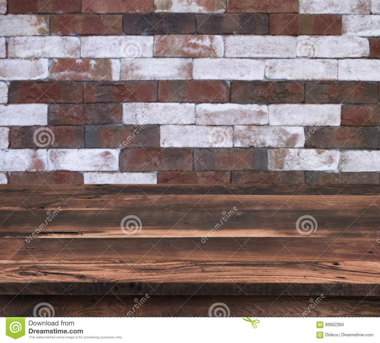 Empty wooden shelf with vintage brick wall pattern as background