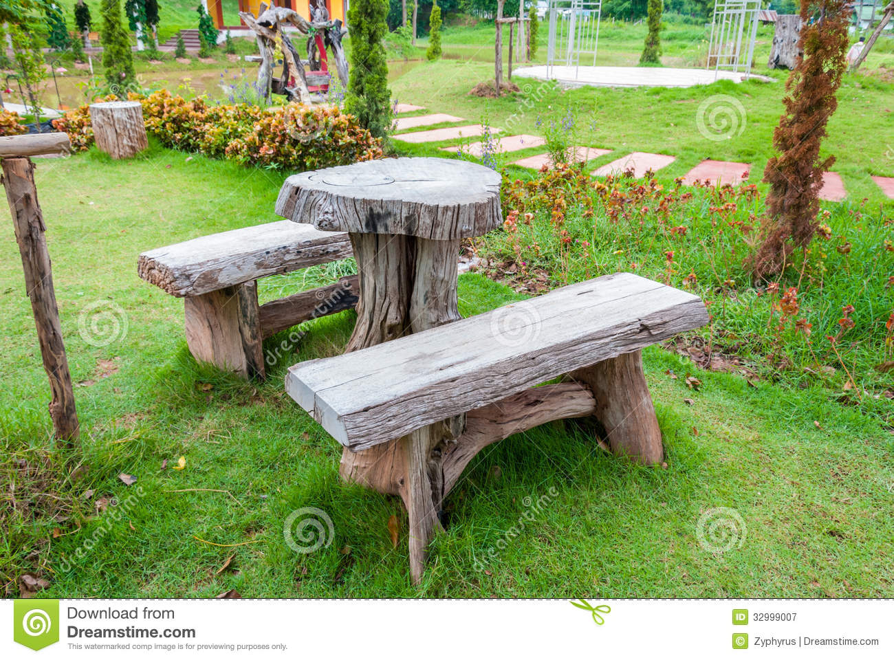 The Empty Wooden Table And Bench Royalty Free Stock ...