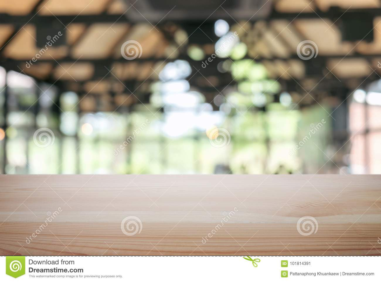 Empty Wooden Table And Blur Background Of Abstract In Front