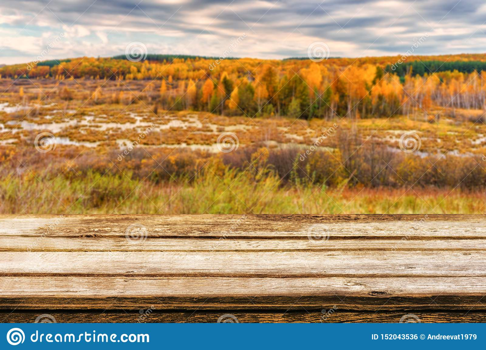 Empty wooden table with blurred picturesque autumn landscape of view from the hill to the lowland with forest and swamps. Mock up