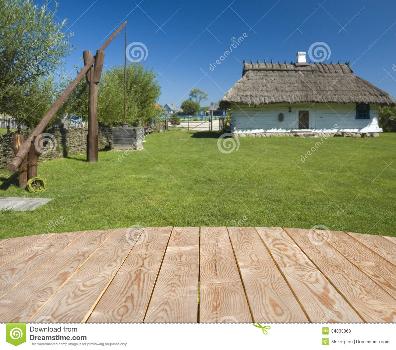 Empty wooden table in the countryside