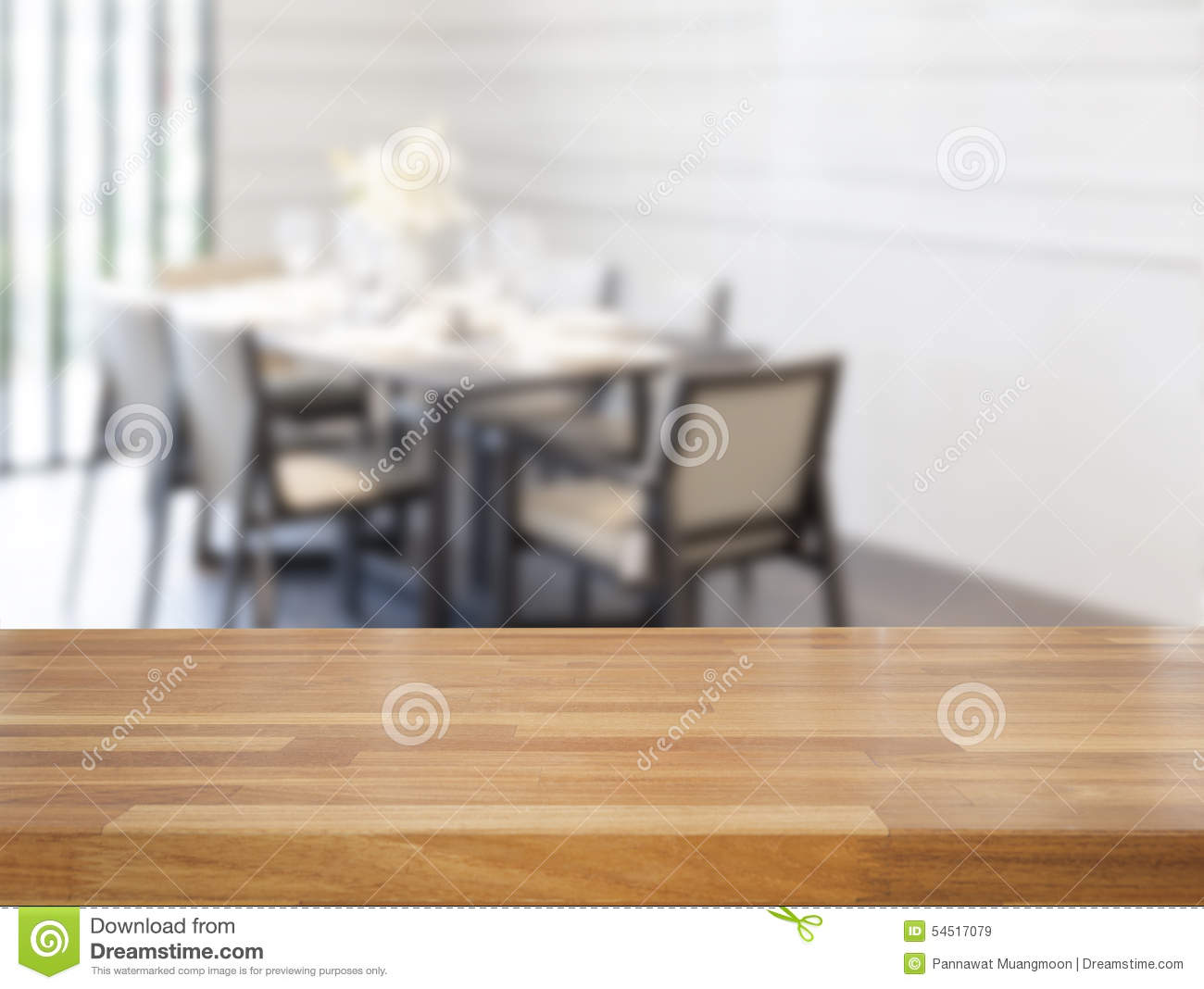 Dinner Table Background empty wooden table and dining room stock photo - image: 54517079