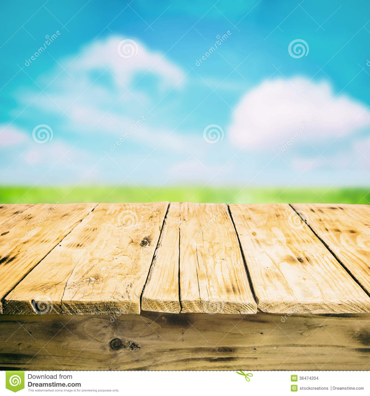 Empty wooden table outdoors in the countryside stock