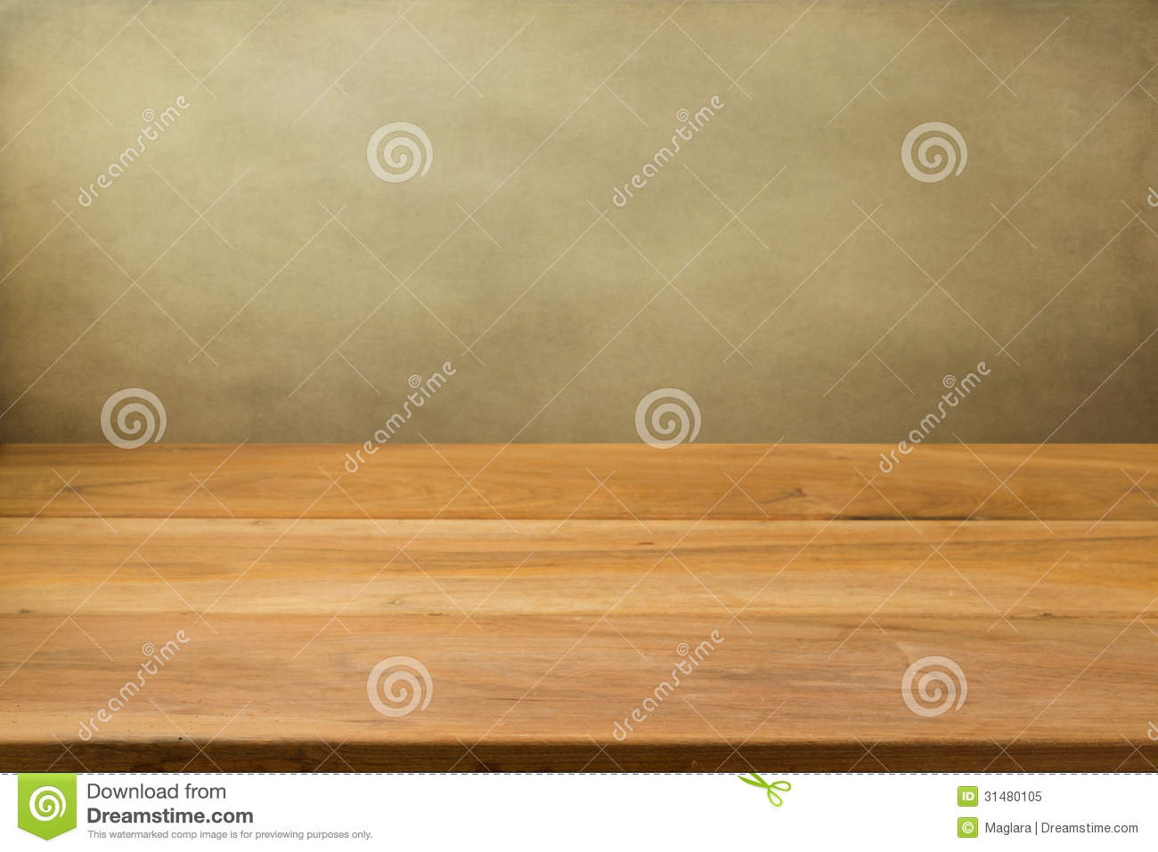 Empty wooden table over grunge background stock image