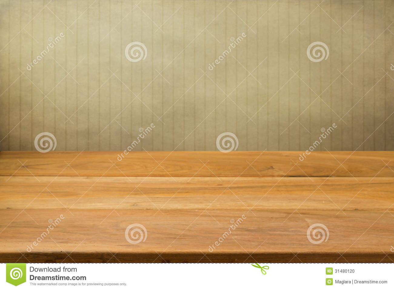 Empty wooden table over grunge striped background.