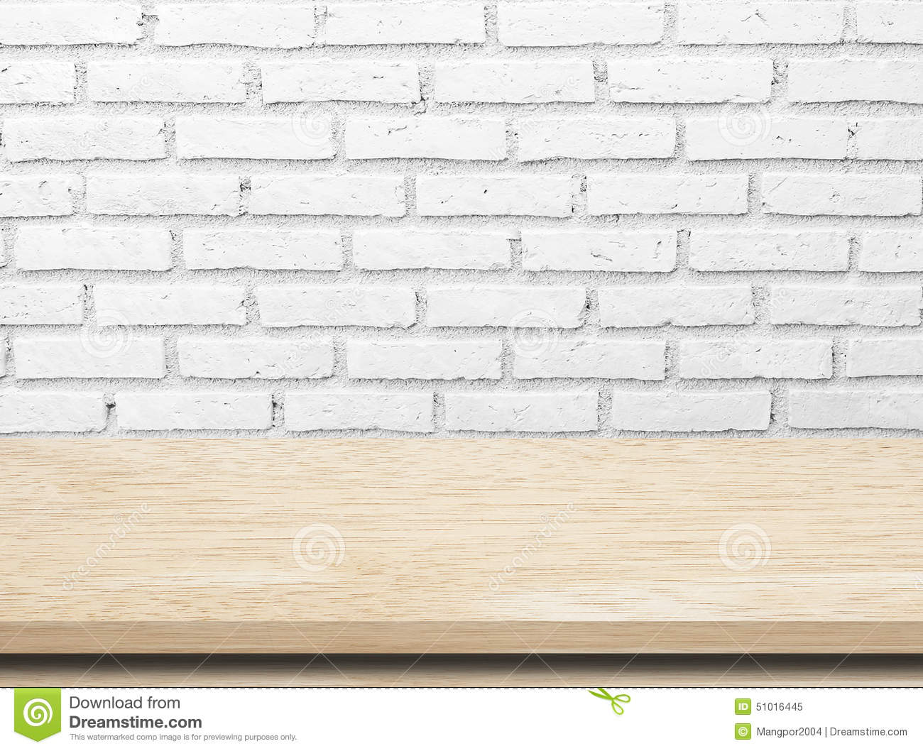 Empty Wooden Table Over White Brick Wall.