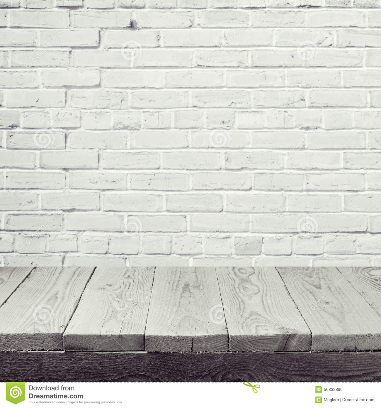 Empty Wooden Table Over White Brick Wall Background Stock