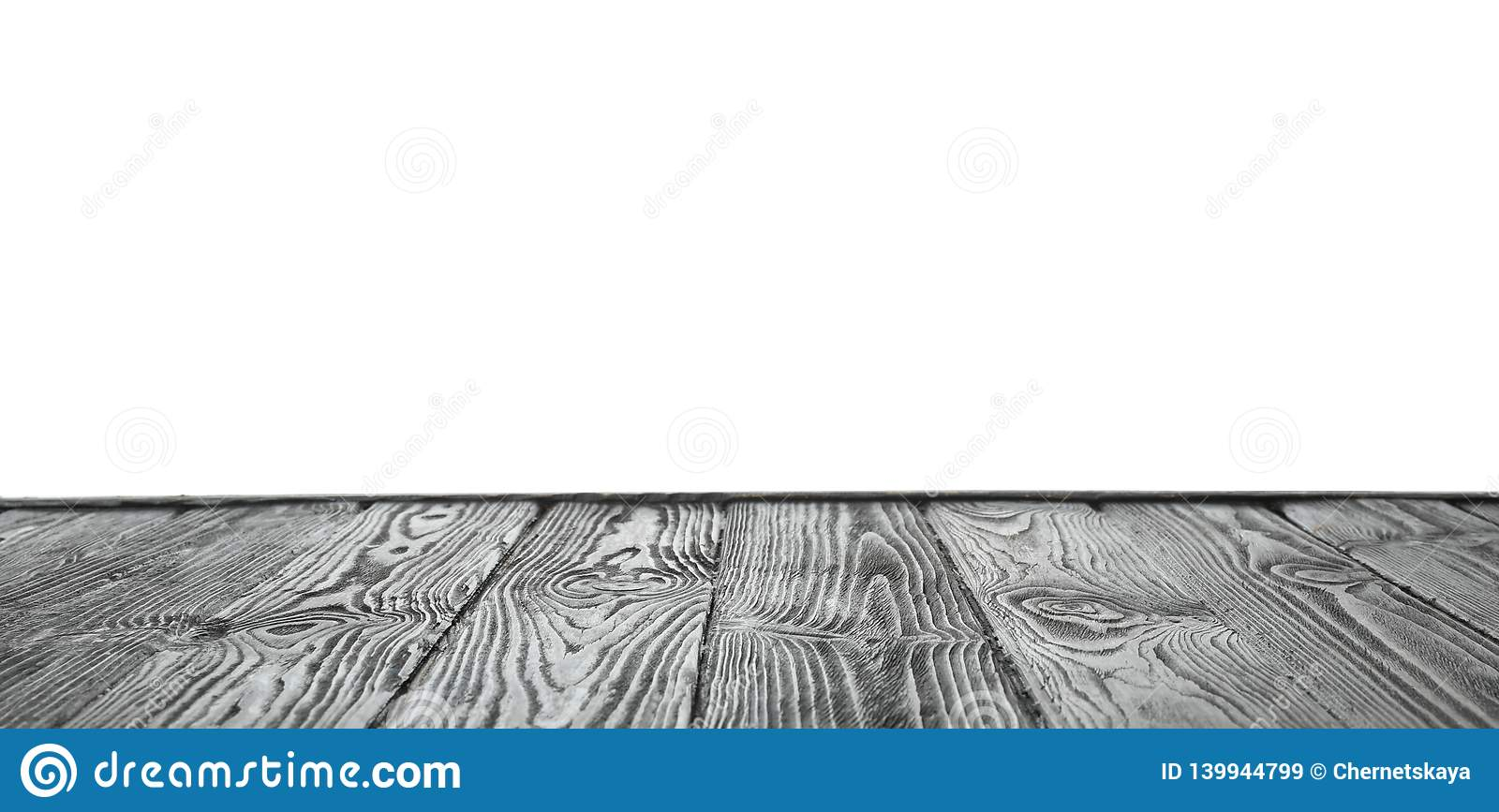 Empty wooden table surface on white. Mockup for design
