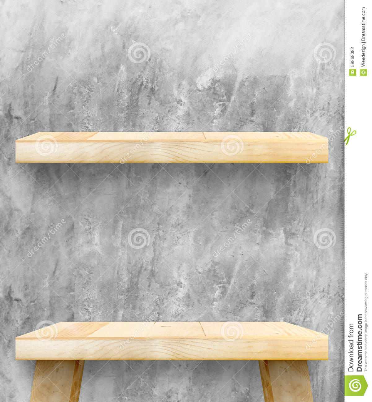 empty wooden table top and shelf at concrete wall template mock