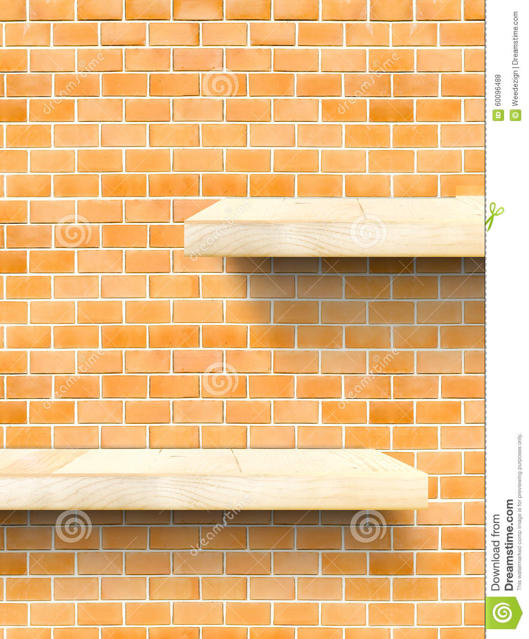 empty wooden table top and shelf at orange bricks wall template