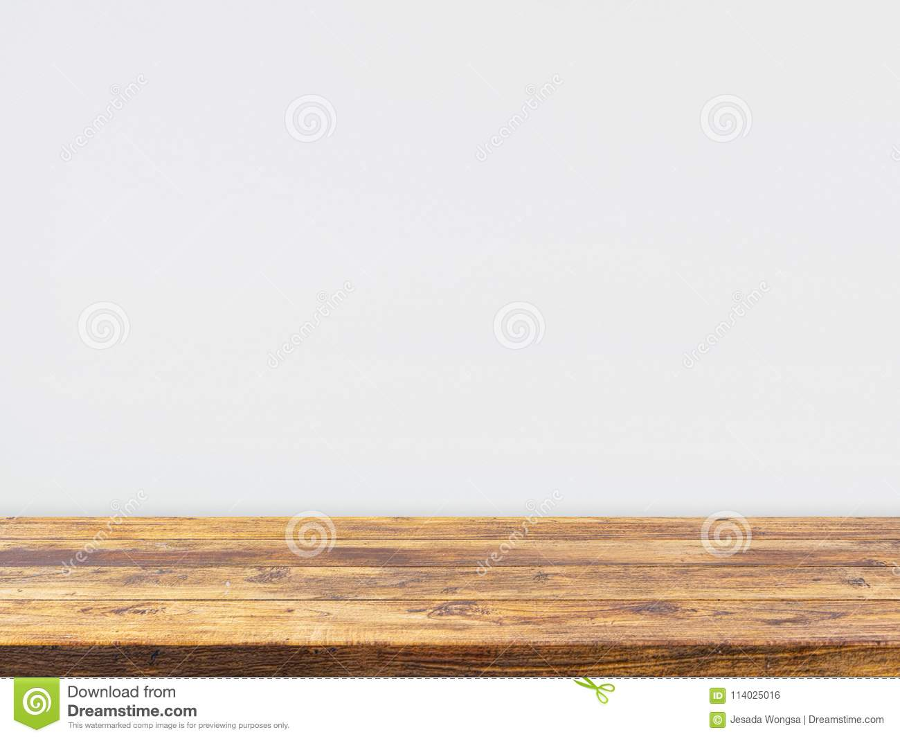 Wooden Table Top On White Concrete Wall Background Template Display