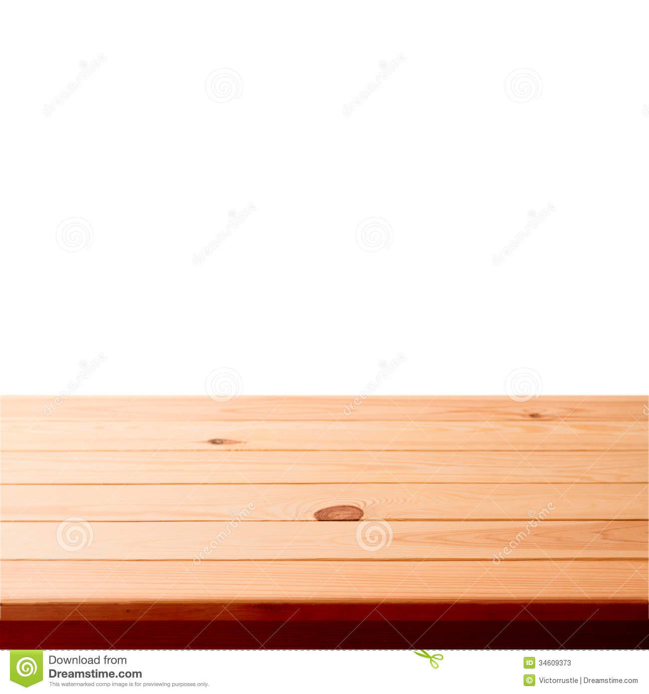 Empty wooden table on white background stock photos for Table background