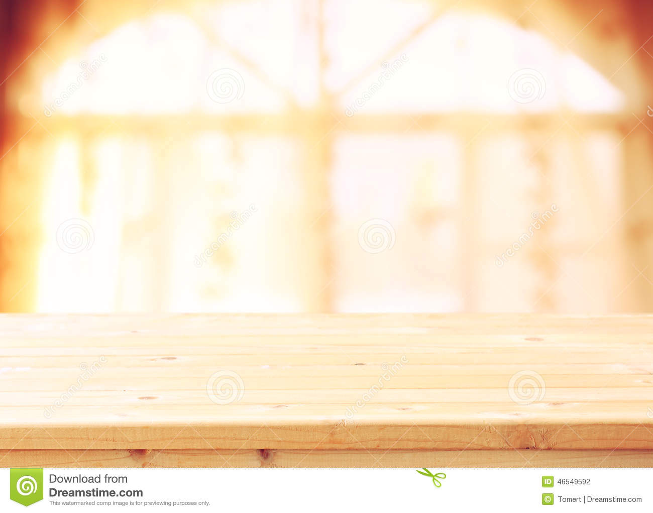 Empty Wooden Table And Window Light Background Filtered
