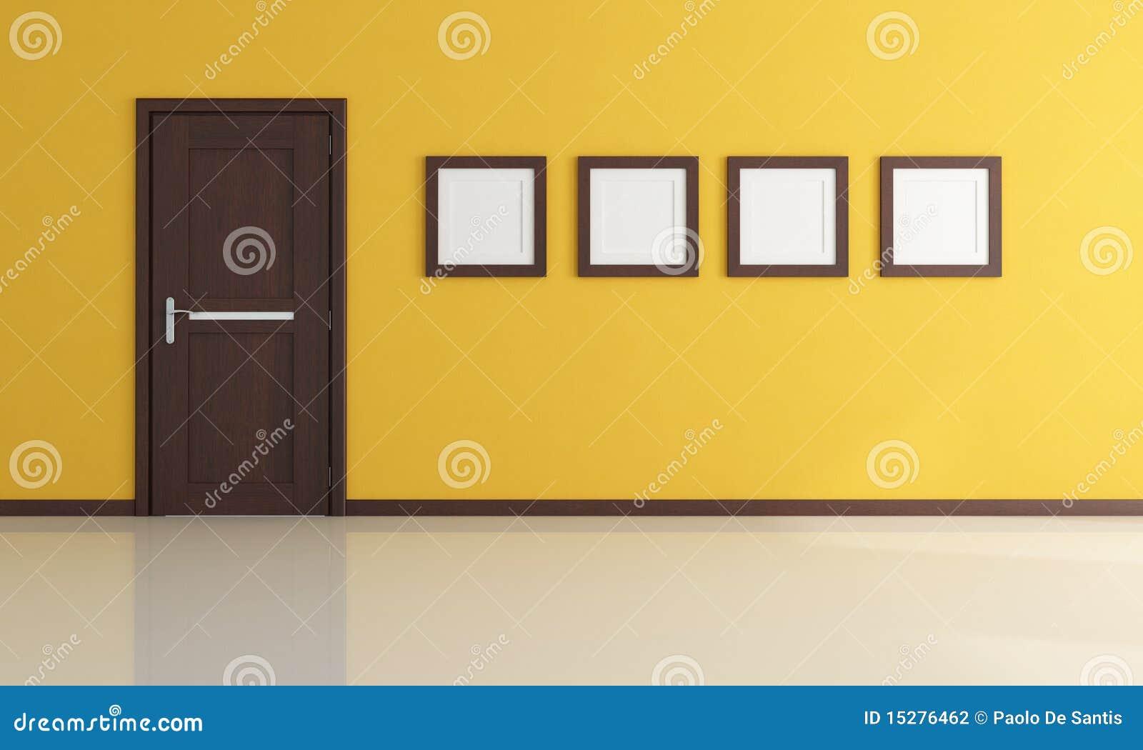 Empty yellow room stock illustration. Illustration of closed ...
