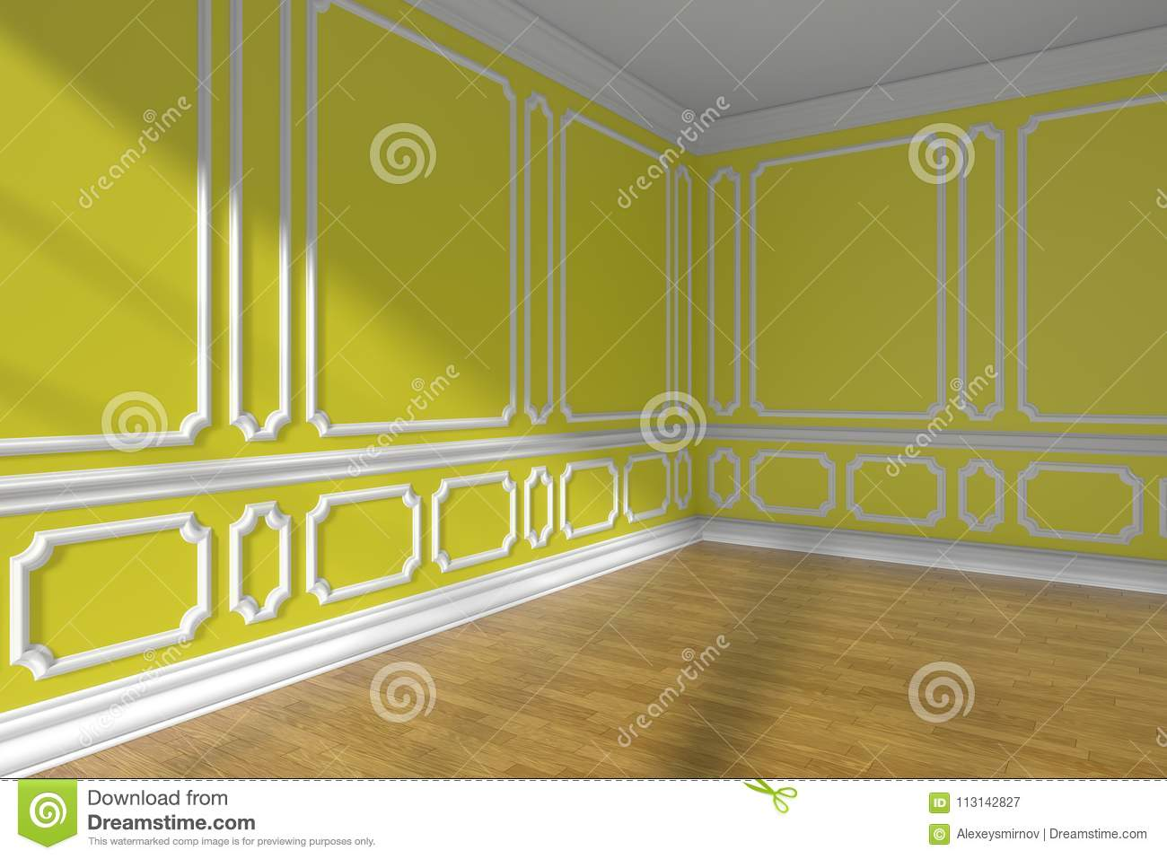 Empty Yellow Room Corner With Molding And Parquet Stock Illustration ...