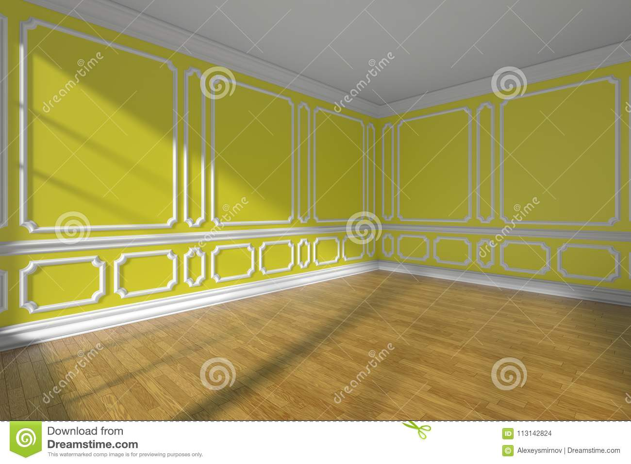 Empty Yellow Room With Molding And Parquet Wide Angle Stock ...