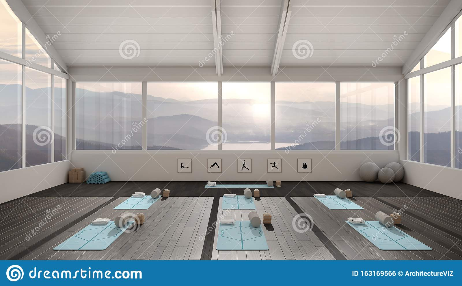Empty Yoga Studio Interior Design Architecture Minimal Open Space Spatial Organization With Mats And Accessories Ready For Stock Illustration Illustration Of Design Minimal 163169566