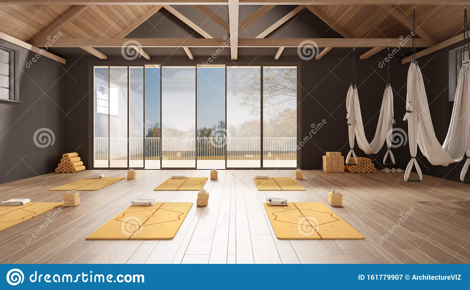 Empty Yoga Studio Interior Design Minimal Open Space With Mats Hammocks And Accessories Wooden Floor And Roof Ready For Yoga Stock Illustration Illustration Of Style Energy 161779907