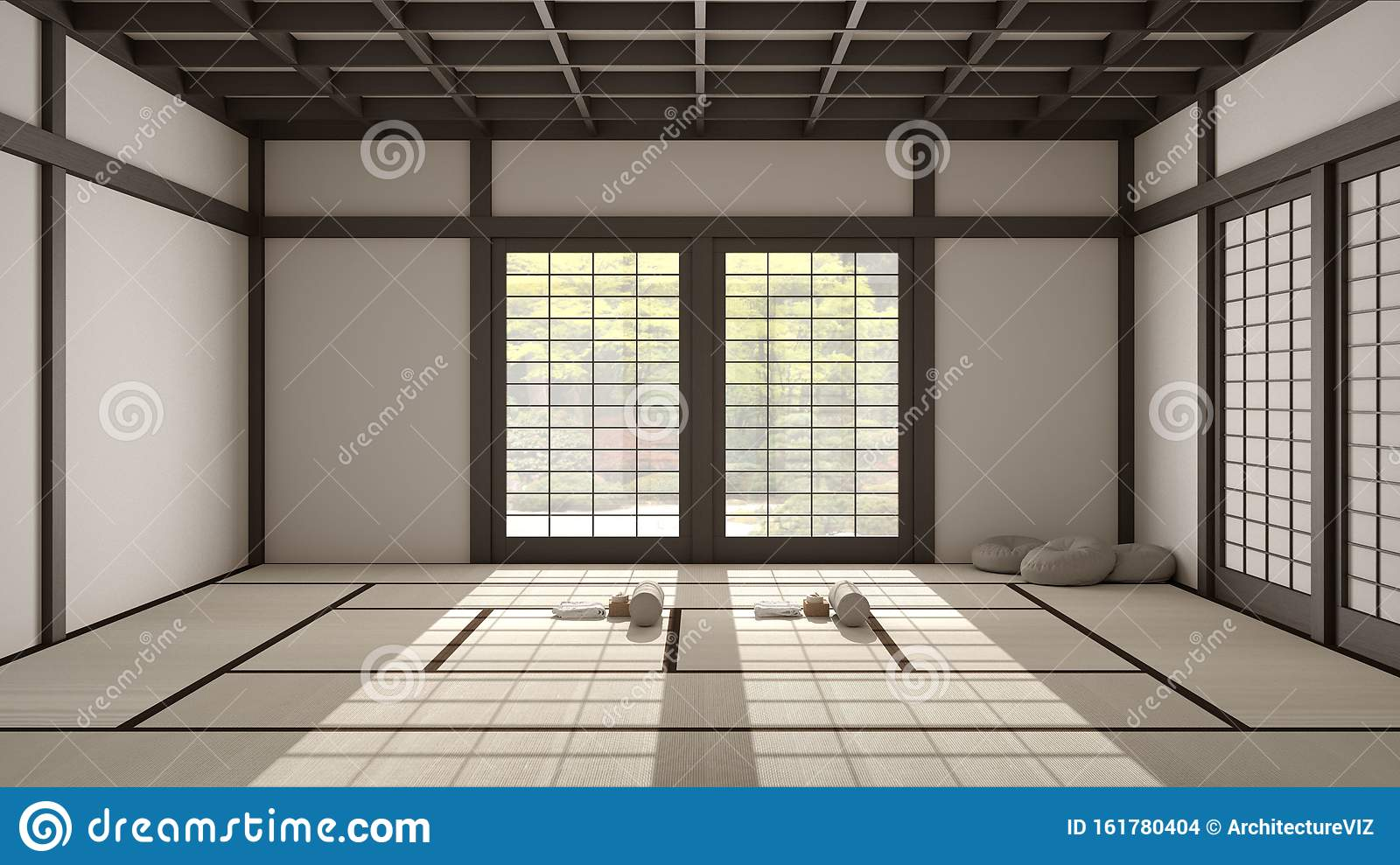 Empty Yoga Studio Interior Design Open Space With Mats Pillows And Accessories Tatami Futon Wooden Roof Window With Zen Stock Illustration Illustration Of Hall Studio 161780404