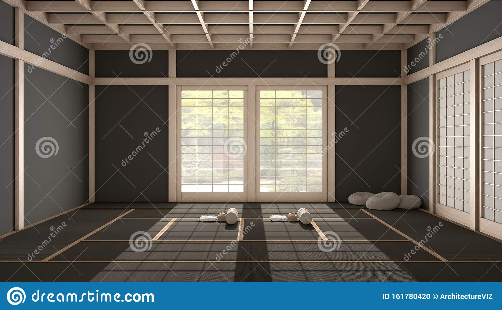 Empty Yoga Studio Interior Design Open Space With Mats Pillows And Accessories Tatami Futon Wooden Roof Window With Zen Stock Illustration Illustration Of Lifestyle Peaceful 161780420