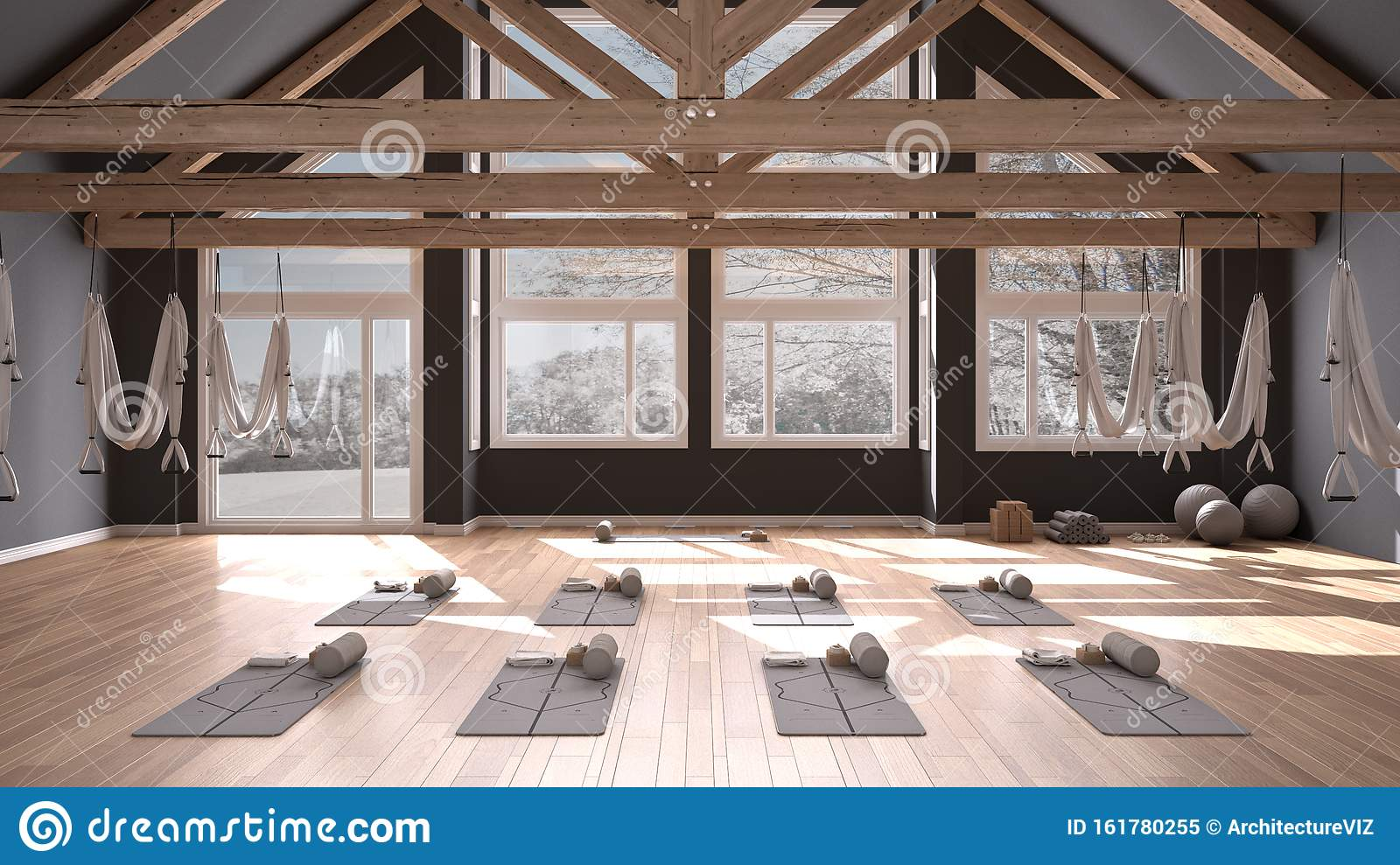 Empty Yoga Studio Interior Design Space With Hammock Mats Pillows And Accessories Wooden Floor And Roof Ready For Yoga Stock Illustration Illustration Of Spare Practicing 161780255