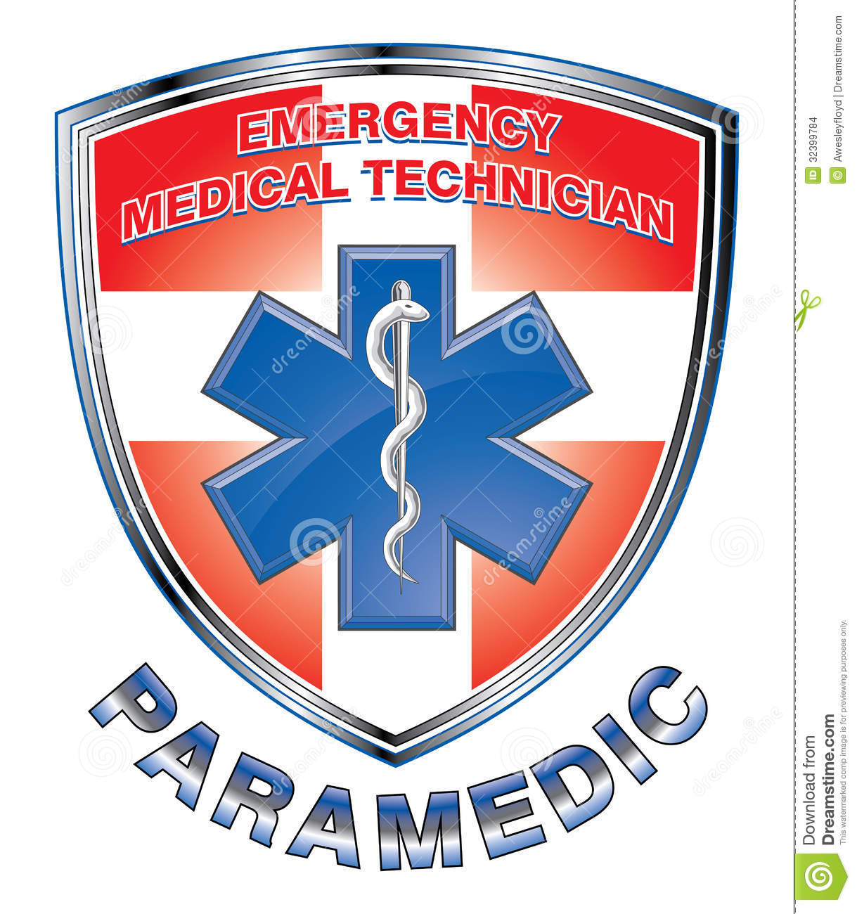 Illustration of an EMT or paramedic design with star of life medical ...