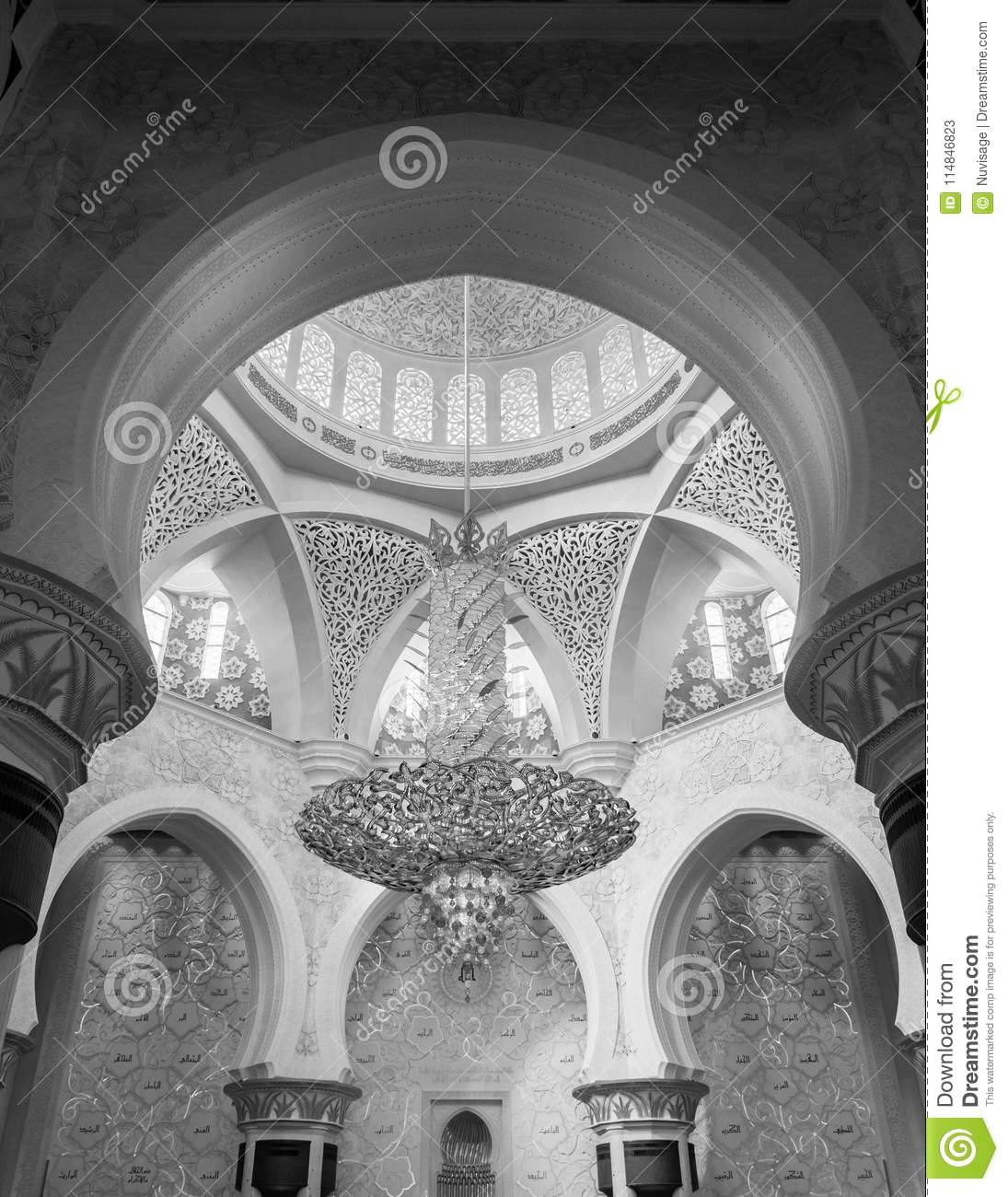 Exterior: Interior Of Sheikh Zayed Grand Mosque And Large Crytal