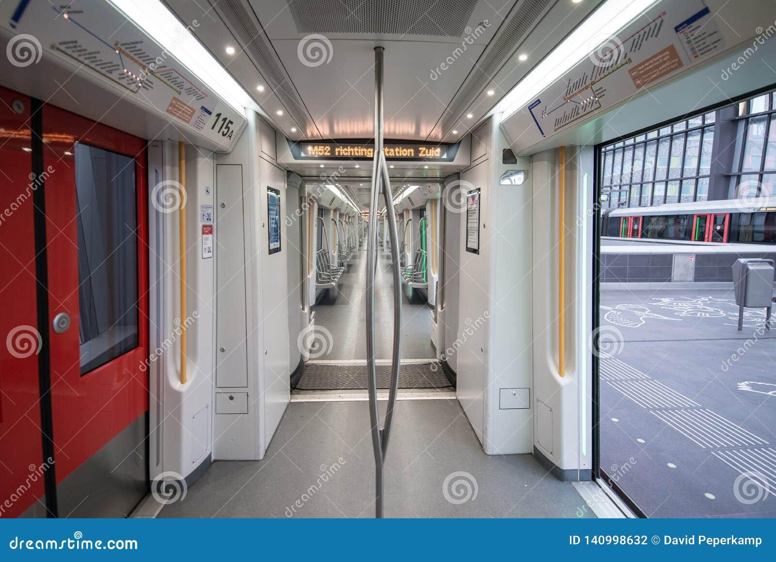 Emty Metro wagon, Metro station Amsterdam noord