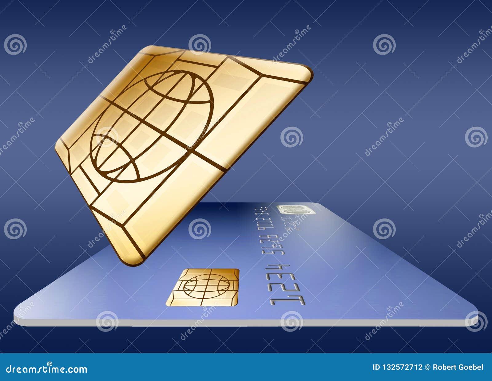 EMV-Chip auf einer Kreditkarte