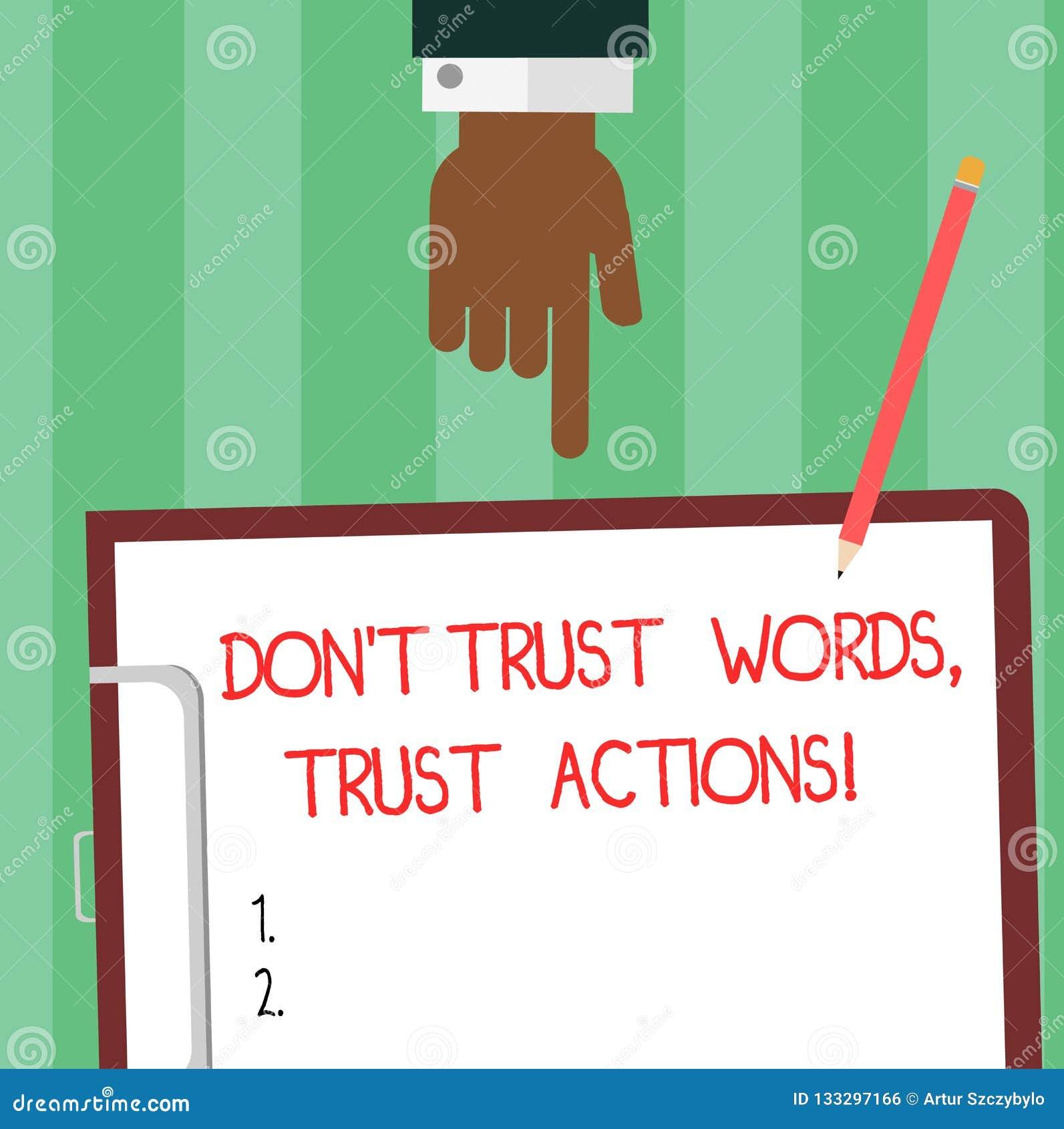 En écrivant l apparence Don T de note faites confiance aux actions de confiance de mots Photo d affaires présentant parler moins
