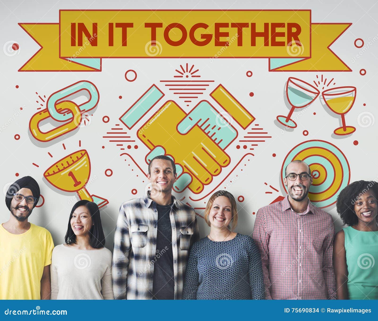 En él junto Team Corporate Connection Support Concept
