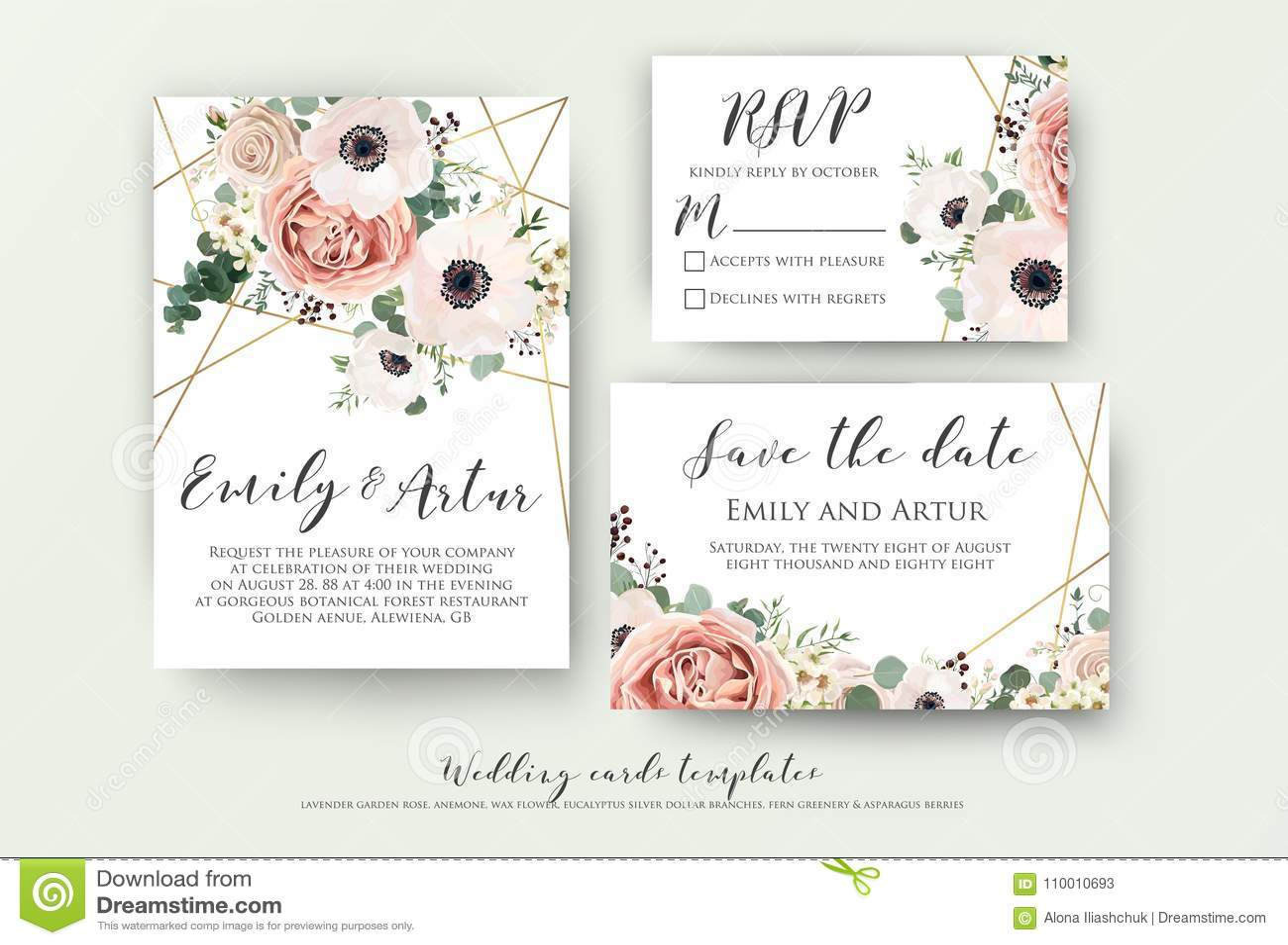 En épousant invitez, invitation, rsvp, sauvent le design de carte de date avec