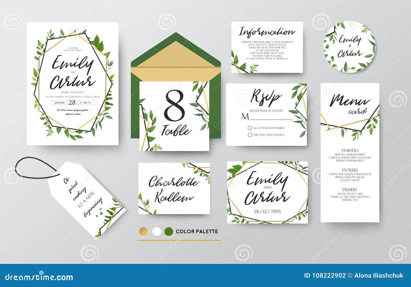 En épousant invitez, menu, rsvp, merci marquer des économies la carte de date D