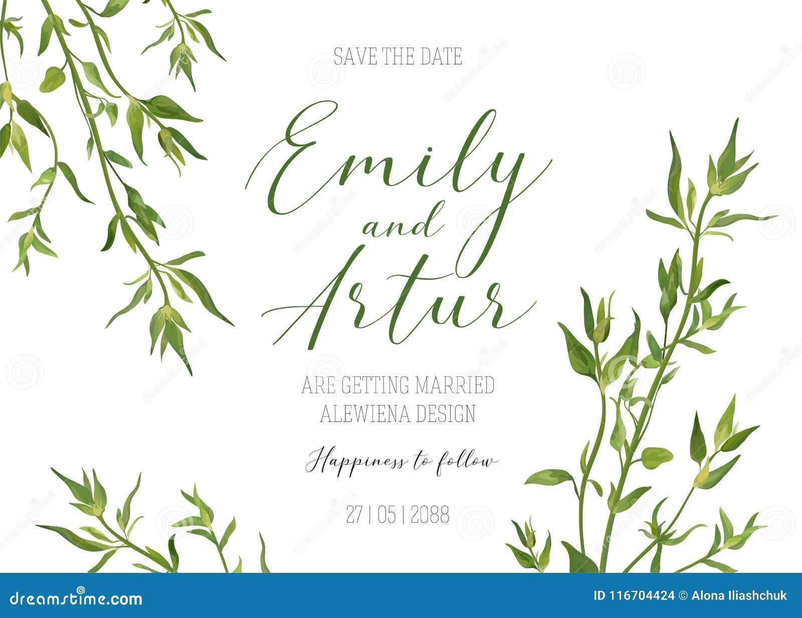 En épousant l invitation florale, invitez, sauvez le calibre de date Vecto